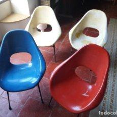 Vintage: EXCLUSIVO LOTE DE 4 BUTACAS DE FIBRA.AÑOS 50.. Lote 149985566