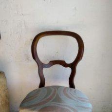 Vintage: SILLA DE CAOBA, TAPIZADO A NUEVO, PARA DORMITORIO. Lote 149986022