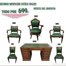 Vintage: CONJUNTO DE DESPACHO ESTILO INGLES: MESA, 1 SILLÓN GIRATORIO, 2 BUTACAS, 2 SILLAS 1 MESA MEDIDAS: 15. Lote 155368990