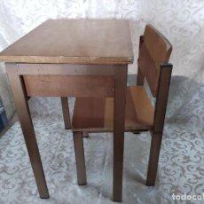 Vintage: BONITO JUEGO DE PUPITRE Y SILLA DE ESCUELA, 60´S - 70´S. Lote 155812386