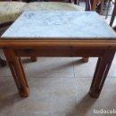 Vintage: MESA DE MADERA DE PINO Y MARMOL BLANCO . Lote 158791518