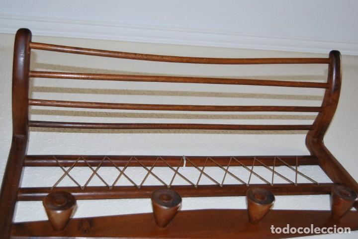 Vintage: PERCHERO DE MADERA - DETALLES EN CUERDA - COLGADOR - ESTILO NÓRDICO - AÑOS 50-60 - Foto 12 - 162695542