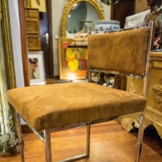 Vintage: SILLA ITALIANA ROMEO REGA-70S- RECIÉN TAPIZADA, ACERO CROMADO. Lote 167158748