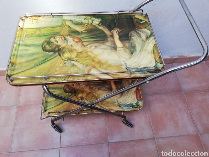 MESA CAMARERA. CARRITO.AUXILIAR. METAL Y FORMICA. PLEGABLE. ORIGINAL (Vintage - Muebles)