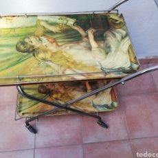 Vintage: MESA CAMARERA. CARRITO.AUXILIAR. METAL Y FORMICA. PLEGABLE. ORIGINAL. Lote 170892664