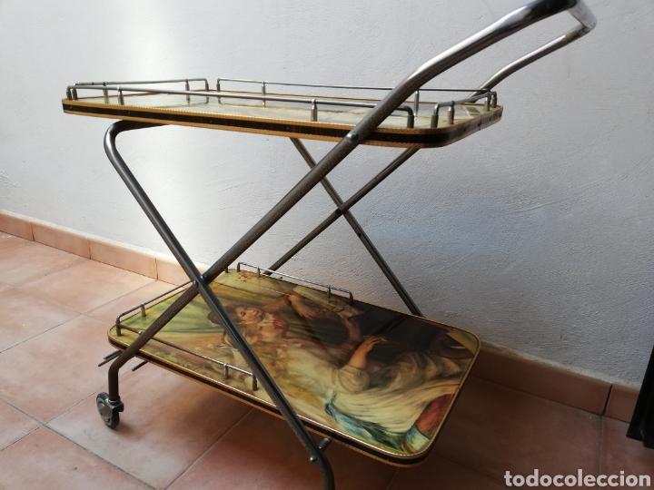Vintage: MESA CAMARERA. CARRITO.AUXILIAR. METAL Y FORMICA. PLEGABLE. ORIGINAL - Foto 4 - 170892664