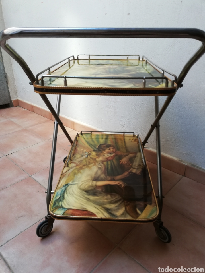Vintage: MESA CAMARERA. CARRITO.AUXILIAR. METAL Y FORMICA. PLEGABLE. ORIGINAL - Foto 6 - 170892664