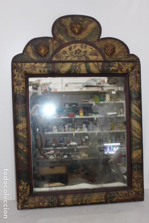 PRECIOSO ESPEJO DE PRINCIPIOS DEL SIGLO XX. POLICROMADO (Vintage - Muebles)