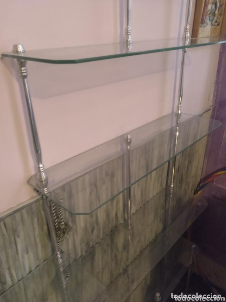 Vintage: Estantería modular de cristal y aluminio desmontable. 300 x 175cm (parte más alta) - Foto 4 - 172296333