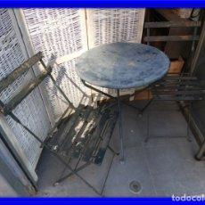 Vintage: MESA Y SILLAS DE JARDIN O TERRAZA ANTIGUAS PLEGABLES. Lote 172991552