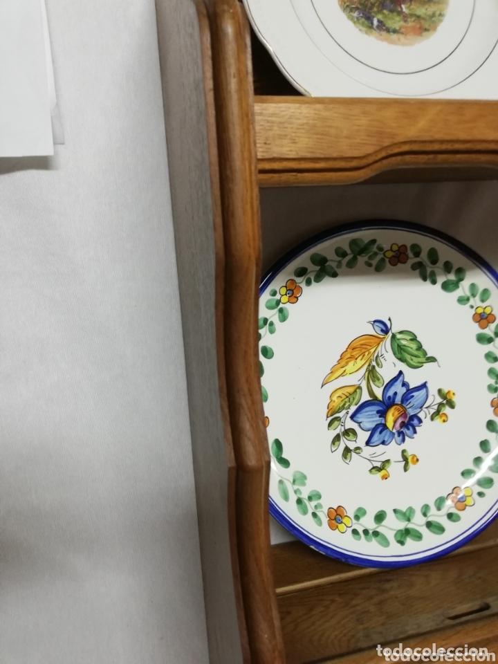 Vintage: PLATERO DE MADERA EN ROBLE. JARRERA. COLGADORES PARA JARRAS. MUEBLE AUXILIAR. - Foto 10 - 173898527