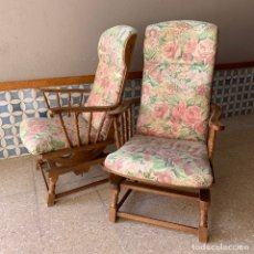 Vintage: PAR DE SILLONES BALASCINES, MADERA COLOR NOGAL, FACIL RE-TAPIZADO. Lote 174216355