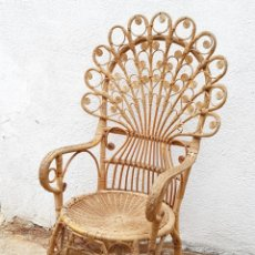 Vintage: SILLA BUTACA DE MIMBRE 70´S - NO SE ENVIA. Lote 174261318