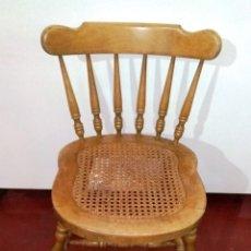 Vintage: SILLA VINTAGE EN MADERA DE ROBLE Y REJILLA DE BAMBÚ. Lote 176050032