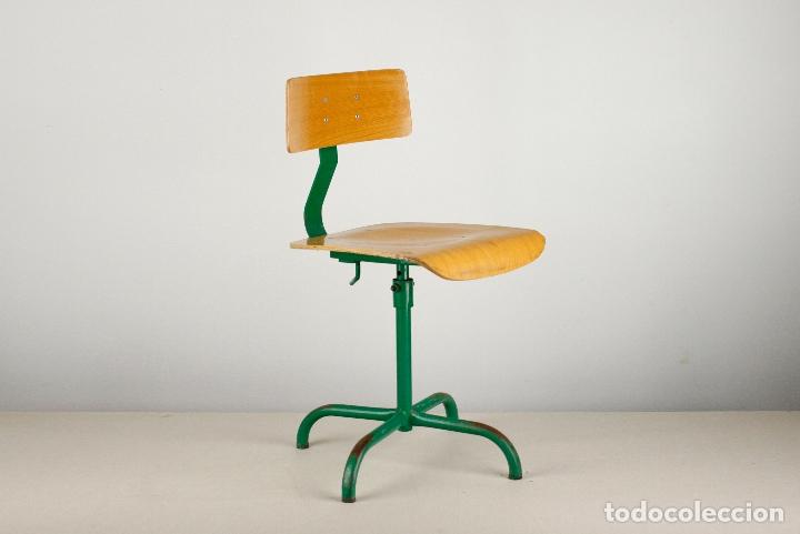 Taburete In English.Taburete Vintage Silla Giratoria Metal Madera Verde Retro Industrial Espana 60 S