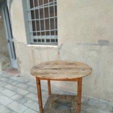 Vintage: MESA ANTIGUA PARA BRASERO DE SALITA EN MADERA CON TABLERO REDONDO MESA DE ESTUFA REDONDA. Lote 178061418