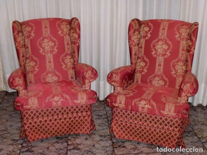 Vintage: Pareja de sillones orejeros,balancin y giratorio.Años 80. - Foto 2 - 178989295
