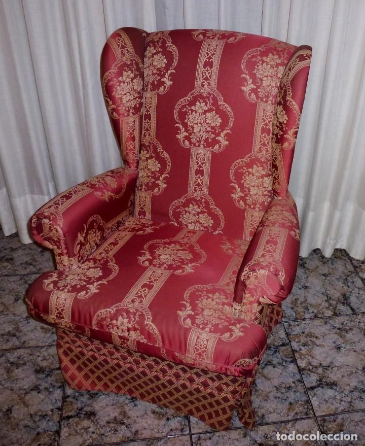 Vintage: Pareja de sillones orejeros,balancin y giratorio.Años 80. - Foto 3 - 178989295