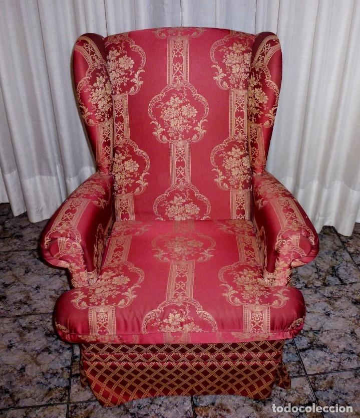 Vintage: Pareja de sillones orejeros,balancin y giratorio.Años 80. - Foto 4 - 178989295