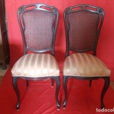 Vintage: JUEGO DE SEIS SILLAS EN TONO ROJIZO CON RESPALDO DE REJILLA.. Lote 179185056