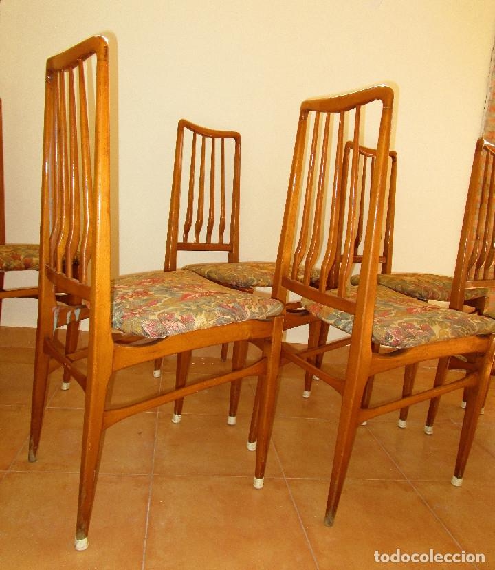 LOTE 6 SILLAS TECA VINTAGE NORDICAS SCANDINAVAS DANESAS MUY BUEN ESTADO (Vintage - Muebles)