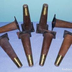 Vintage: LOTE DE 8 PATAS ANTIGUAS DE MADERA Y METAL PARA MUEBLES IDEAL RESTAURADORES. Lote 180328393