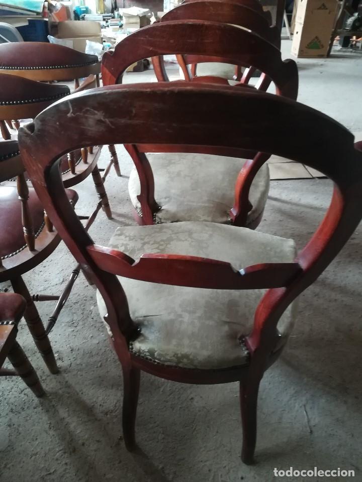 Vintage: CONJUNTO 6 SILLAS DE SALÓN. MADERA Y TELA - Foto 3 - 180455756