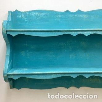 Vintage: PLATERA, PINTADA EN AZUKL TURQUESA DECAPADO - 166 CM. DE LARGO - Foto 3 - 180919298