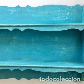 Vintage: PLATERA, PINTADA EN AZUKL TURQUESA DECAPADO - 166 CM. DE LARGO - Foto 5 - 180919298