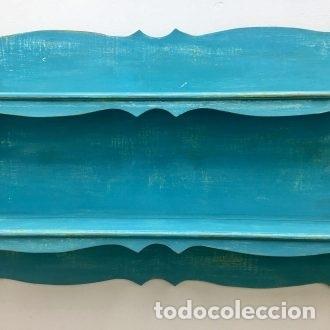 Vintage: PLATERA, PINTADA EN AZUKL TURQUESA DECAPADO - 166 CM. DE LARGO - Foto 6 - 180919298