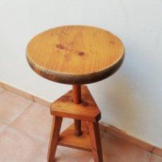 Vintage: TABURETE MADERA PARA ESTUDIO.ALTURA REGULABLE. ASIENTO. BANQUETA.. Lote 182409947