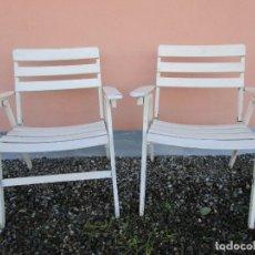 Vintage: PAREJA DE SILLONES PLEGABLES - MADERA - SILLÓN JARDÍN, TERRAZA, PISCINA - VINTAGE - AÑOS 60-70. Lote 183017957
