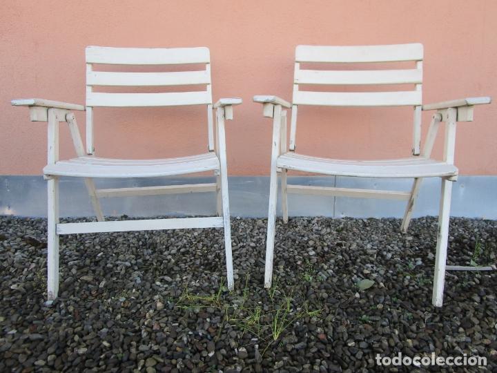 Vintage: Pareja de Sillones Plegables - Madera - Sillón jardín, Terraza, Piscina - Vintage - Años 60-70 - Foto 2 - 183017957