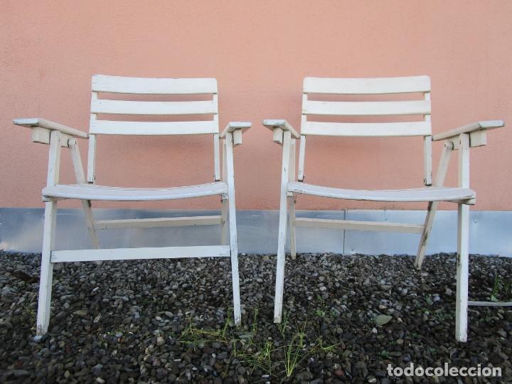 Vintage: Pareja de Sillones Plegables - Madera - Sillón jardín, Terraza, Piscina - Vintage - Años 60-70 - Foto 15 - 183017957