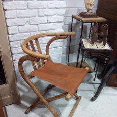 Vintage: SILLA DE CAMPAÑA PLEGABLE. MADERA Y CUERO. Lote 183196811