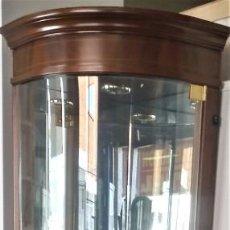 Vintage: VITRINA RINCON NOGAL CON LUZ PUERTA CRISTAL Y MADERA 38 X 38 X 194. Lote 183667960