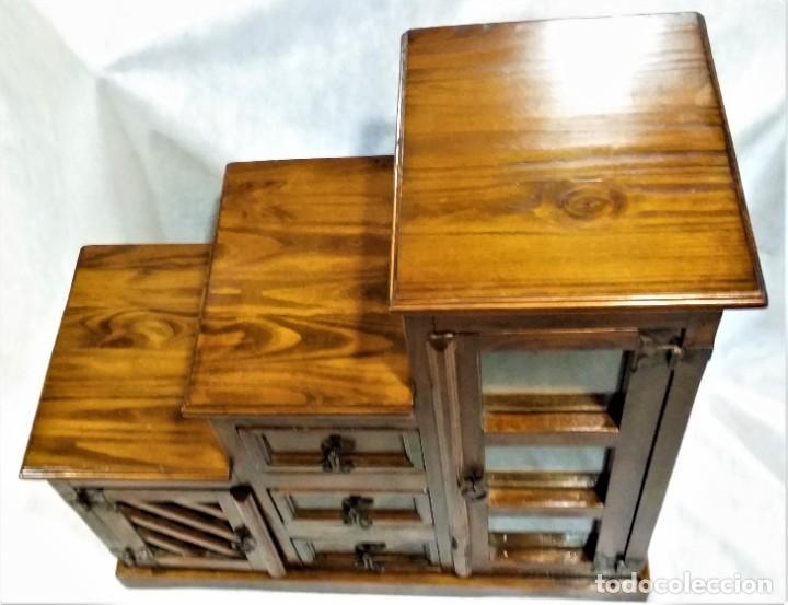 Vintage: Mueble auxiliar Mexicano de madera maciza - Foto 3 - 183956668