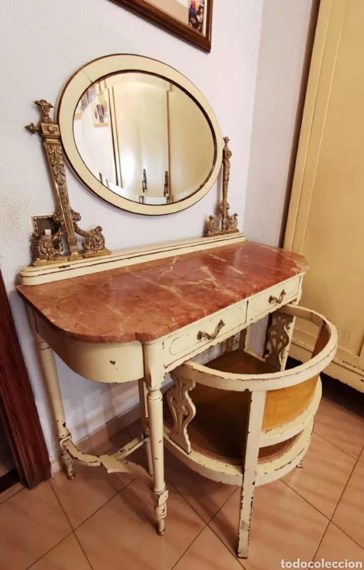 Vintage: Precioso tocador isabelino. Madera, bronce y mármol. Con butaca a juego. - Foto 2 - 191979556