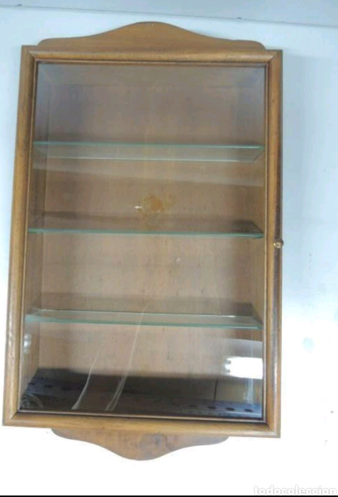Vintage: Vitrina de colgar en madera de Haya con baldas de cristal - Foto 2 - 193848932