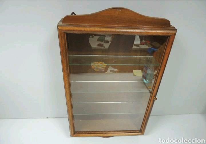 Vintage: Vitrina de colgar en madera de Haya con baldas de cristal - Foto 3 - 193848932