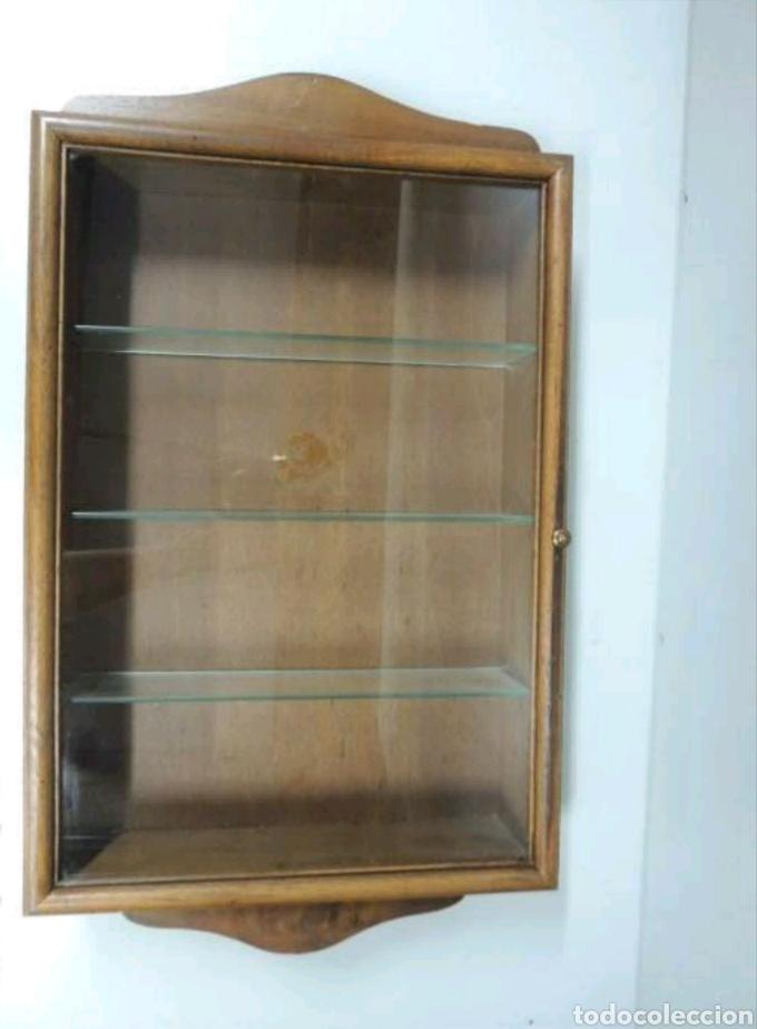 Vintage: Vitrina de colgar en madera de Haya con baldas de cristal - Foto 4 - 193848932