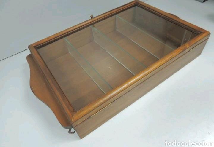 Vintage: Vitrina de colgar en madera de Haya con baldas de cristal - Foto 5 - 193848932