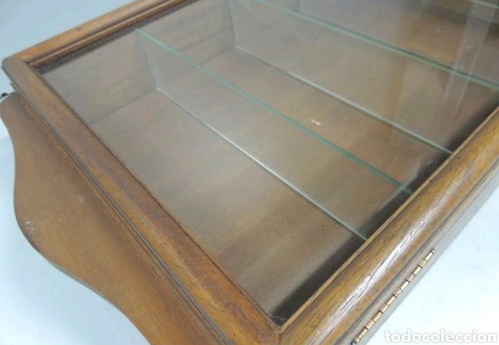 Vintage: Vitrina de colgar en madera de Haya con baldas de cristal - Foto 6 - 193848932