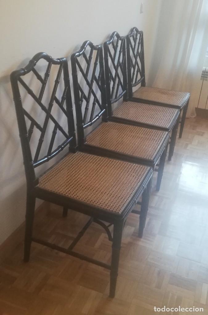 Vintage: Cuatro sillas lacadas en negro hacia 1970 - 1980 - Foto 2 - 194767841