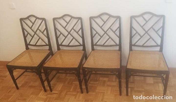 Vintage: Cuatro sillas lacadas en negro hacia 1970 - 1980 - Foto 8 - 194767841