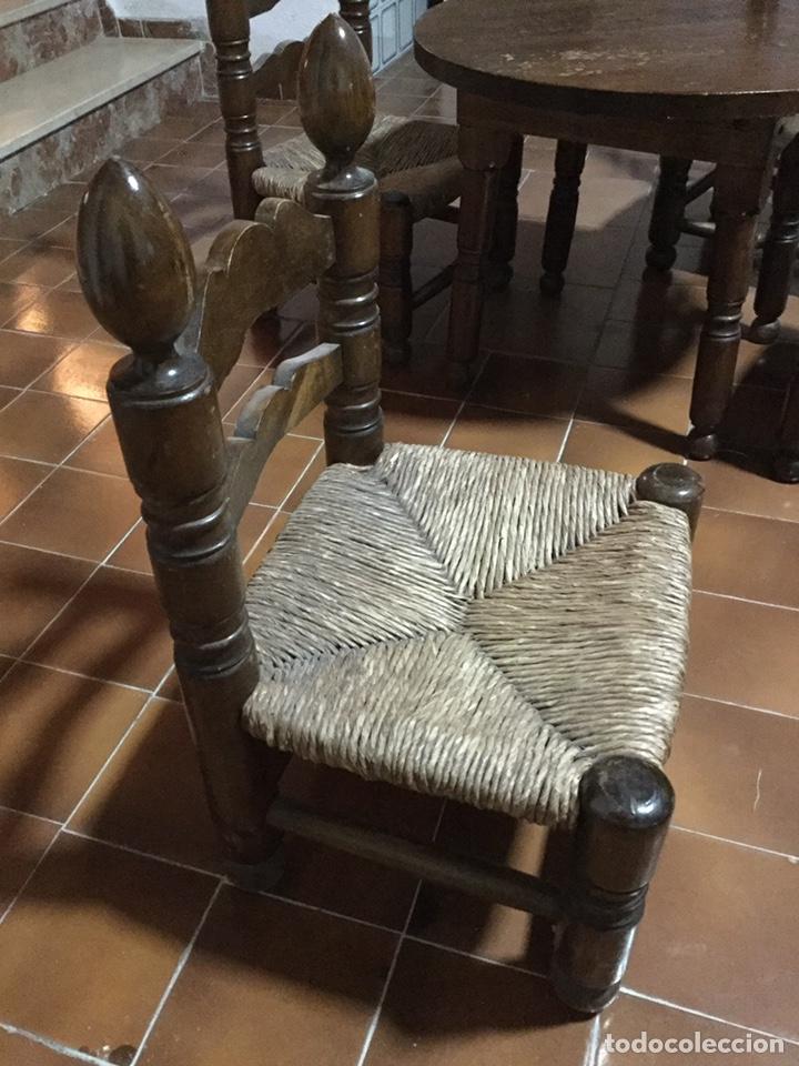 Vintage: Conjunto mesa y sillas de enea vintage - Foto 2 - 195396156
