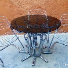 Vintage: MESA Y SILLAS DE DISEÑO-GASTONE RINALDI-. Lote 200193941