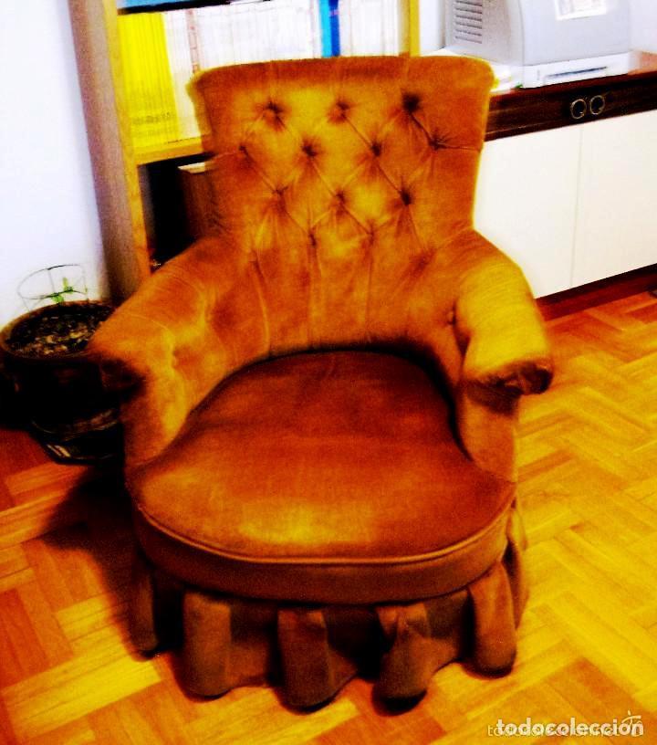 Vintage: SILLÓN capitoné antiguo. ( S. XX )- CHESTER- tapizado terciopelo- - Foto 2 - 200616537