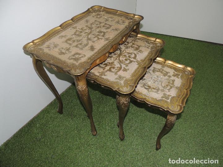 CONJUNTO DE 3 MESAS AUXILIARES NIDO DECORATIVAS MAGNIFICOS DETALLES (Vintage - Muebles)