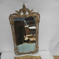 Vintage: MUEBLE RECIBIDOR ESPEJO BRONCE. Lote 205710097